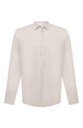 Мужская хлопковая рубашка TRANSIT бежевого цвета, арт. CFUTRNU300 | Фото 1 (Рукава: Длинные; Длина (для топов): Стандартные; Случай: Повседневный; Стили: Минимализм; Материал внешний: Хлопок; Принт: Однотонные; Манжеты: На пуговицах; Воротник: Кент)