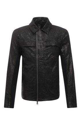 Мужская кожаная куртка TRANSIT черного цвета, арт. CFUTRNR270 | Фото 1