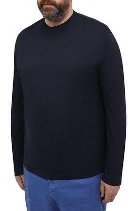 Мужская хлопковый лонгслив KIRED темно-синего цвета, арт. WBACI0MW732100500Q/64-74   Фото 3 (Big sizes: Big Sizes; Рукава: Длинные; Принт: Без принта; Длина (для топов): Удлиненные; Материал внешний: Хлопок; Стили: Кэжуэл)