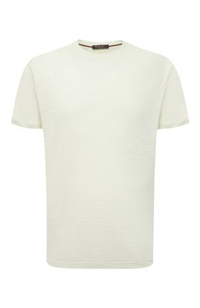 Мужская льняная футболка LORO PIANA светло-зеленого цвета, арт. FAL5748 | Фото 1 (Длина (для топов): Стандартные; Принт: Без принта; Материал внешний: Лен; Стили: Кэжуэл; Рукава: Короткие)
