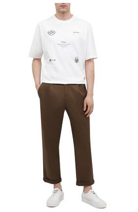 Мужские хлопковые брюки NEIL BARRETT хаки цвета, арт. PBPA817X/Q011 | Фото 2