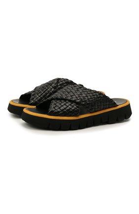 Мужские кожаные шлепанцы ROCCO P. черного цвета, арт. 12021/TRENZA   Фото 1