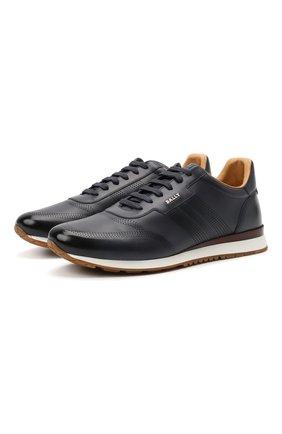 Мужские кожаные кроссовки asken BALLY темно-синего цвета, арт. ASKEN-F0/46 | Фото 1 (Материал внутренний: Натуральная кожа; Стили: Классический; Подошва: Массивная)