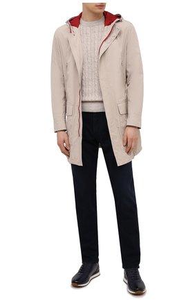 Мужские кожаные кроссовки asken BALLY темно-синего цвета, арт. ASKEN-F0/46 | Фото 2 (Материал внутренний: Натуральная кожа; Стили: Классический; Подошва: Массивная)