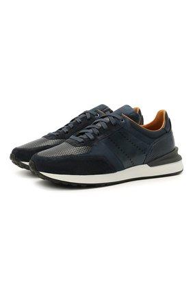 Мужские кожаные кроссовки MAGNANNI темно-синего цвета, арт. 23742/CR0STA | Фото 1