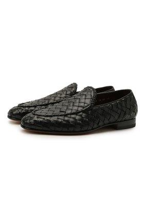 Мужские кожаные лоферы SANTONI черного цвета, арт. MCNC17021LA3SHCHN01 | Фото 1 (Материал внешний: Кожа; Стили: Кэжуэл; Материал внутренний: Натуральная кожа)
