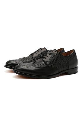 Мужские кожаные дерби CAMERLENGO черного цвета, арт. Z15823PRINE736   Фото 1