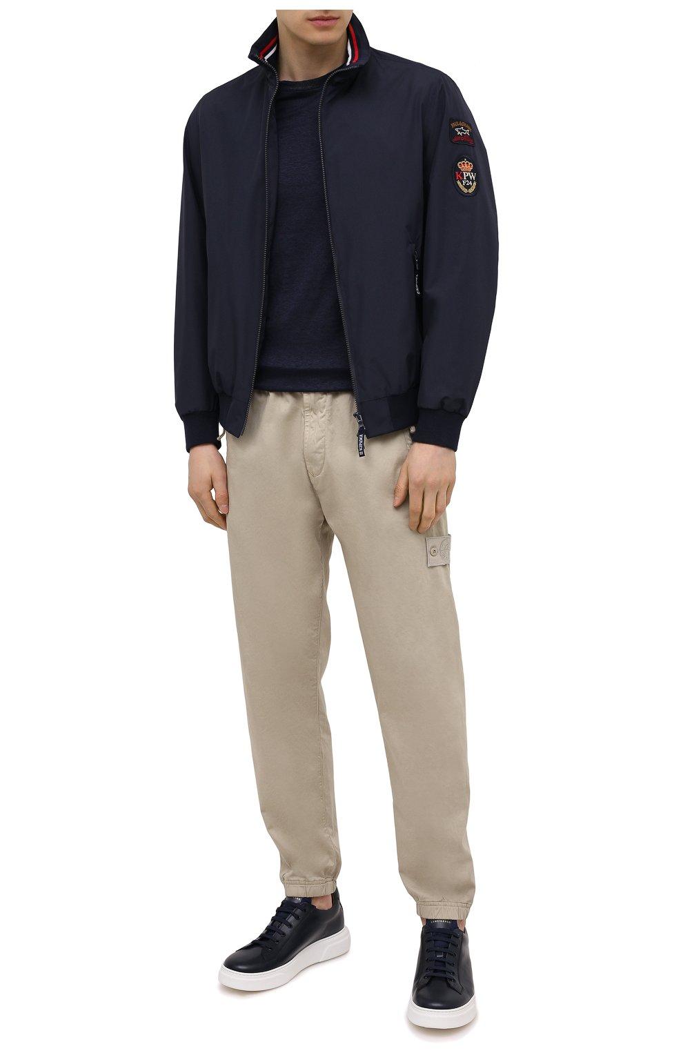 Мужские кожаные кеды CAMERLENGO темно-синего цвета, арт. Z15740GALAV703   Фото 2 (Материал внутренний: Натуральная кожа; Подошва: Массивная)