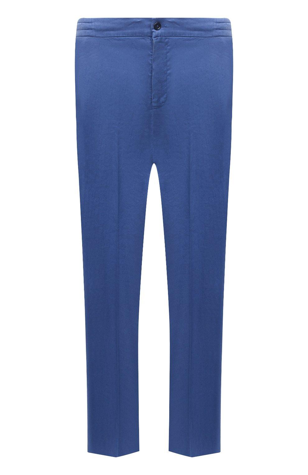 Мужские брюки MARCO PESCAROLO синего цвета, арт. CHIAIAM/4306   Фото 1 (Big sizes: Big Sizes; Силуэт М (брюки): Чиносы; Длина (брюки, джинсы): Стандартные; Случай: Повседневный; Материал внешний: Лен; Стили: Кэжуэл)
