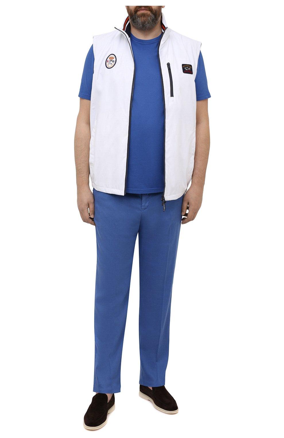 Мужские брюки MARCO PESCAROLO синего цвета, арт. CHIAIAM/4306   Фото 2 (Big sizes: Big Sizes; Силуэт М (брюки): Чиносы; Длина (брюки, джинсы): Стандартные; Случай: Повседневный; Материал внешний: Лен; Стили: Кэжуэл)