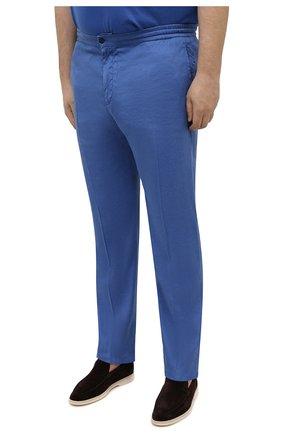 Мужские брюки MARCO PESCAROLO синего цвета, арт. CHIAIAM/4306   Фото 3 (Big sizes: Big Sizes; Силуэт М (брюки): Чиносы; Длина (брюки, джинсы): Стандартные; Случай: Повседневный; Материал внешний: Лен; Стили: Кэжуэл)