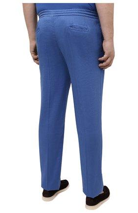 Мужские брюки MARCO PESCAROLO синего цвета, арт. CHIAIAM/4306   Фото 4 (Big sizes: Big Sizes; Силуэт М (брюки): Чиносы; Длина (брюки, джинсы): Стандартные; Случай: Повседневный; Материал внешний: Лен; Стили: Кэжуэл)