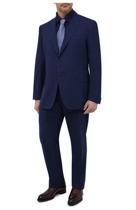 Мужская хлопковая сорочка ETON темно-синего цвета, арт. 1000 02156 | Фото 2 (Случай: Формальный; Стили: Классический; Длина (для топов): Стандартные; Рукава: Длинные; Материал внешний: Хлопок; Рубашки М: Regular Fit; Принт: Однотонные; Манжеты: На пуговицах; Big sizes: Big Sizes; Воротник: Кент)