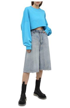 Женский хлопковый свитшот ALEXANDRE VAUTHIER голубого цвета, арт. 211T01251B 1004B-204 | Фото 2