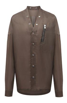 Женская рубашка RICK OWENS коричневого цвета, арт. RP21S3732/J   Фото 1