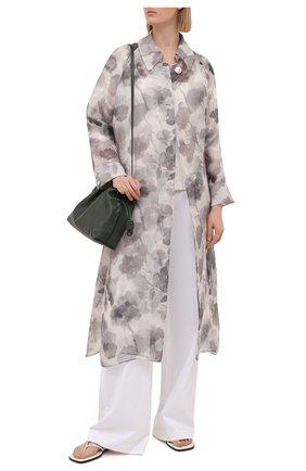 Женское шелковое пальто FENDI серого цвета, арт. FF8797 AF7P   Фото 2