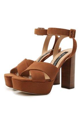 Женские замшевые босоножки SERGIO ROSSI коричневого цвета, арт. A94250-MCAZ01 | Фото 1