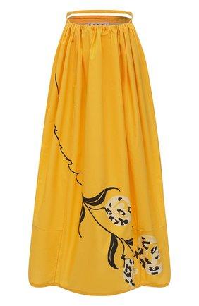Женская хлопковая юбка MARNI желтого цвета, арт. G0MA0368A0/UTCZ80 | Фото 1