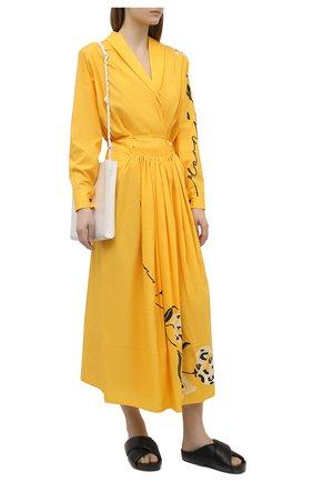 Женская хлопковая юбка MARNI желтого цвета, арт. G0MA0368A0/UTCZ80 | Фото 2