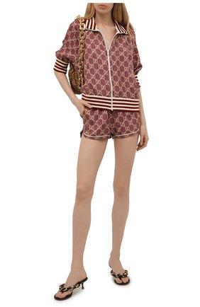Женские шелковые шорты GUCCI светло-коричневого цвета, арт. 644589/XJCL5 | Фото 2