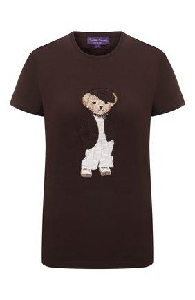 Женская хлопковая футболка RALPH LAUREN коричневого цвета, арт. 290840844 | Фото 1