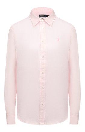 Женская льняная рубашка POLO RALPH LAUREN светло-розового цвета, арт. 211827658   Фото 1
