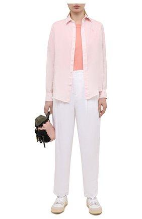 Женская льняная рубашка POLO RALPH LAUREN светло-розового цвета, арт. 211827658   Фото 2