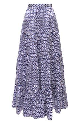 Женская шелковая юбка KITON синего цвета, арт. D49214K09T56   Фото 1