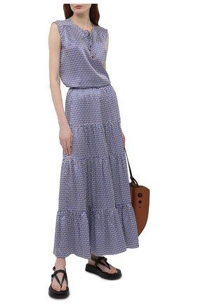 Женская шелковая юбка KITON синего цвета, арт. D49214K09T56 | Фото 2
