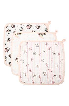 Детского комплект из трех полотенец ADEN+ANAIS розового цвета, арт. EWCC30005DIB | Фото 1 (Материал: Текстиль, Хлопок)