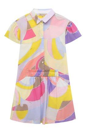 Детское хлопковое платье EMILIO PUCCI разноцветного цвета, арт. 9O1181 | Фото 1