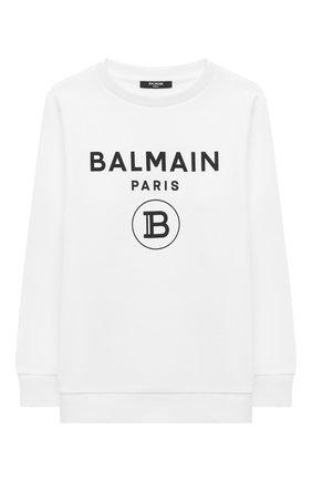 Детский хлопковый свитшот BALMAIN белого цвета, арт. 6M4760 | Фото 1