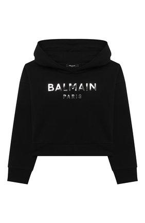 Детский хлопковое худи BALMAIN черного цвета, арт. 6M4010 | Фото 1