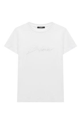 Детская хлопковая футболка BALMAIN белого цвета, арт. 6M8741 | Фото 1