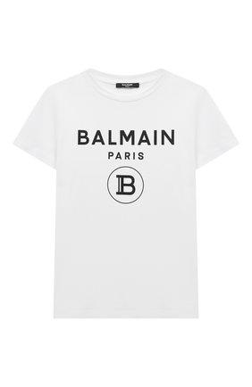 Детская хлопковая футболка BALMAIN белого цвета, арт. 6M8701 | Фото 1