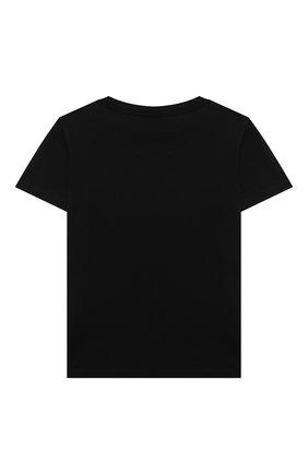 Детская хлопковая футболка BALMAIN черного цвета, арт. 6M8741 | Фото 2