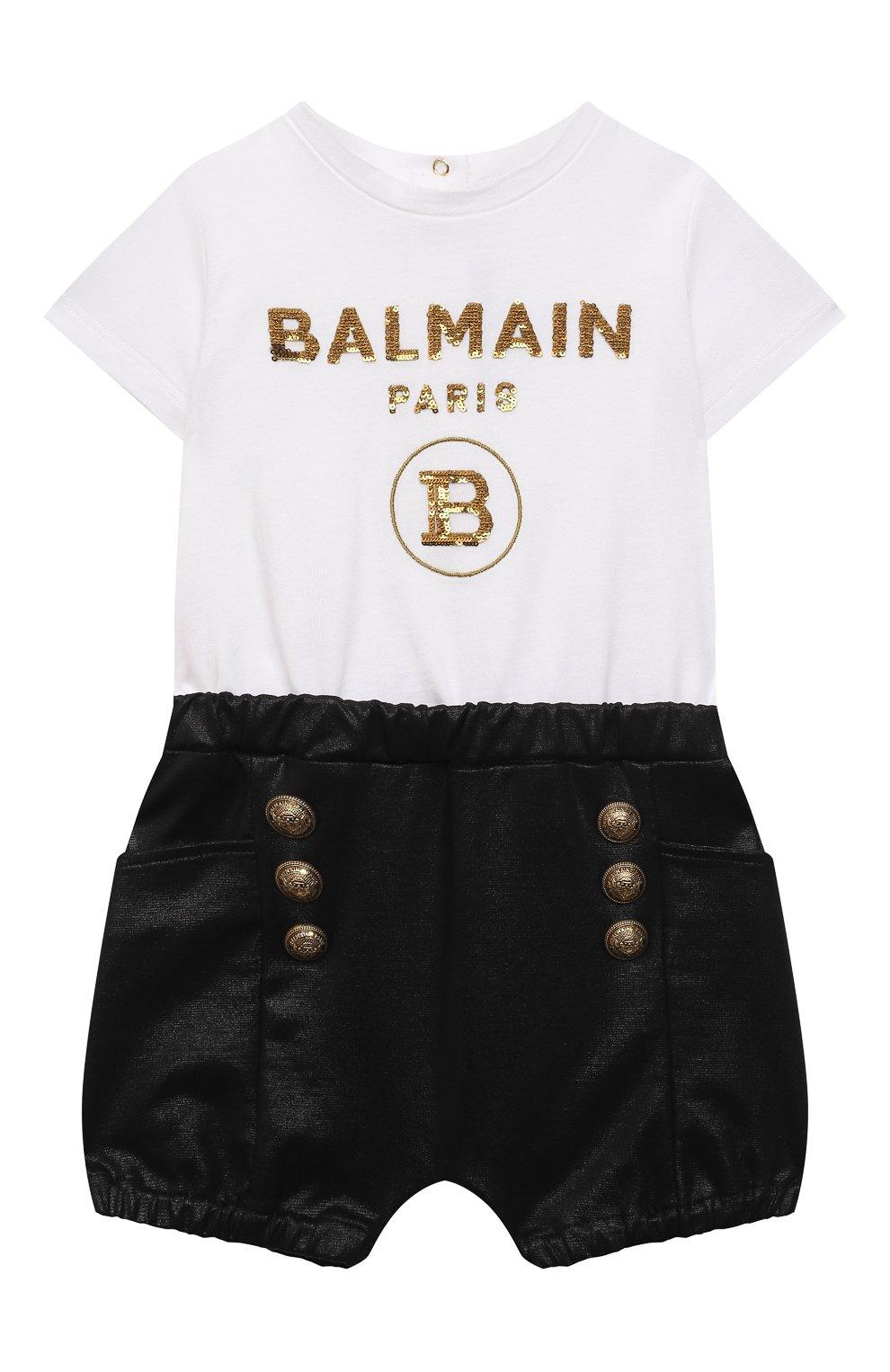 Детский комбинезон BALMAIN черно-белого цвета, арт. 6O1849 | Фото 1
