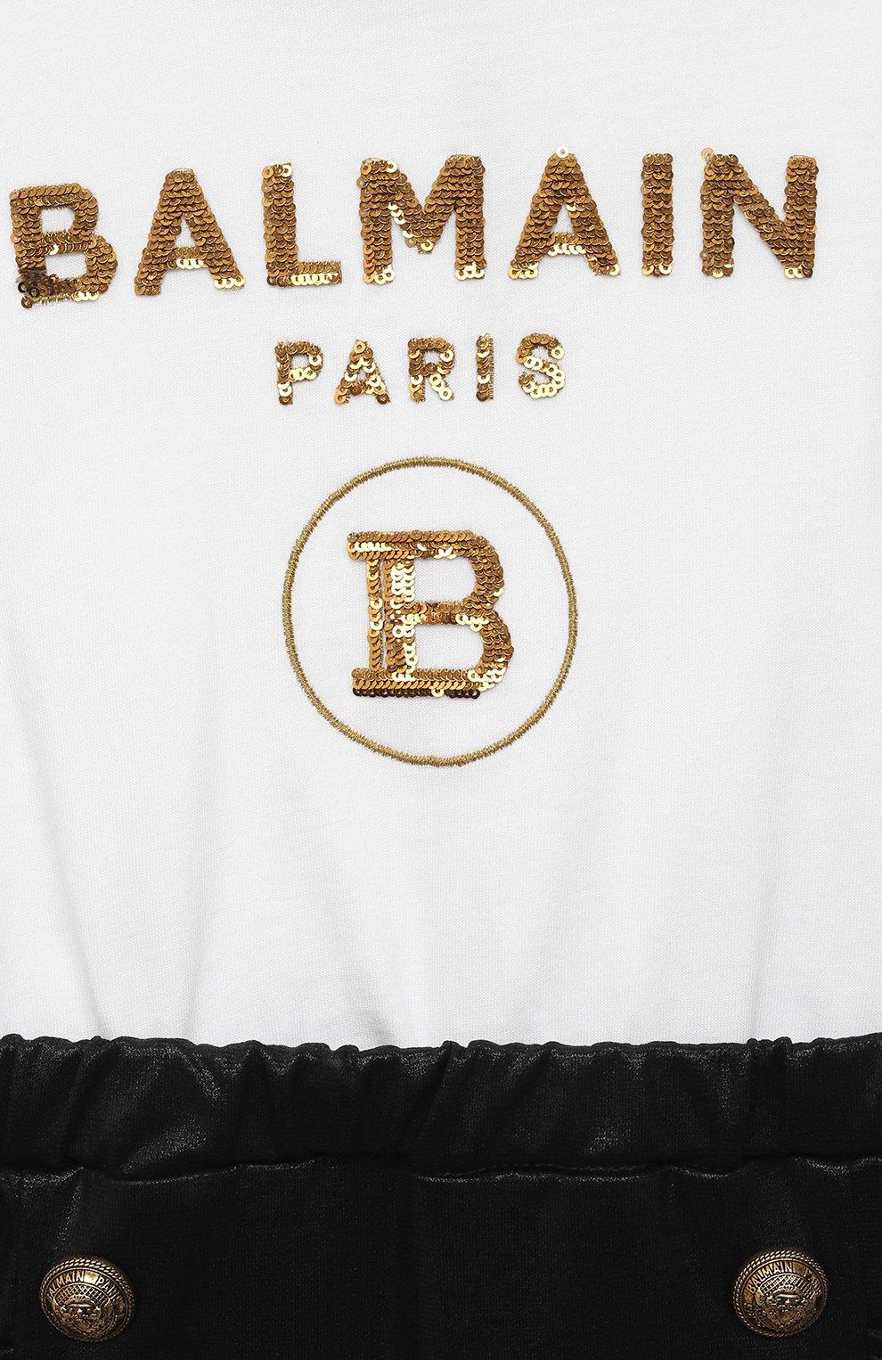 Детский комбинезон BALMAIN черно-белого цвета, арт. 6O1849 | Фото 3
