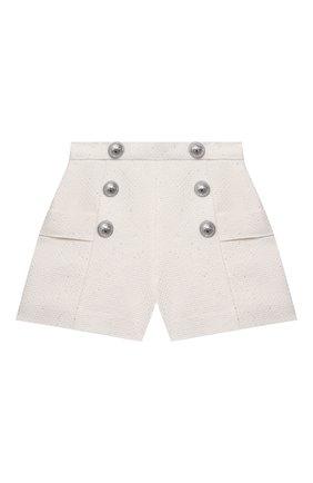 Детские хлопковые шорты BALMAIN бежевого цвета, арт. 6O6109 | Фото 1