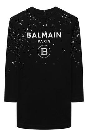 Детское хлопковое платье BALMAIN черного цвета, арт. 6O1070 | Фото 1