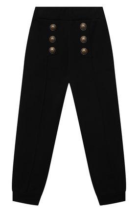 Детские хлопковые брюки BALMAIN черного цвета, арт. 6O6200 | Фото 1