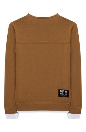 Детский хлопковый пуловер PAOLO PECORA MILANO светло-коричневого цвета, арт. PP2598/14A-16A | Фото 2