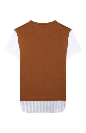 Детский хлопковый пуловер PAOLO PECORA MILANO коричневого цвета, арт. PP2601/8A-12A   Фото 2
