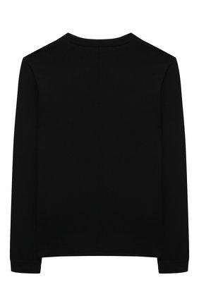 Детский хлопковый пуловер PAOLO PECORA MILANO черного цвета, арт. PP2606/8A-12A   Фото 2