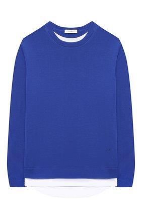 Детский хлопковый пуловер PAOLO PECORA MILANO синего цвета, арт. PP2608/8A-12A | Фото 1