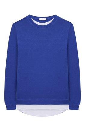 Детский хлопковый пуловер PAOLO PECORA MILANO синего цвета, арт. PP2608/14A-16A   Фото 1