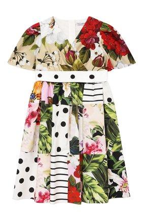 Детское хлопковое платье DOLCE & GABBANA разноцветного цвета, арт. L52DS8/G7YQQ/2-6 | Фото 1 (Материал подклада: Хлопок; Материал внешний: Хлопок; Рукава: Короткие; Девочки Кросс-КТ: Платье-одежда; Ростовка одежда: 2 года | 92 см, 3 года | 98 см, 4 года | 104 см, 5 лет | 110 см, 6 лет | 116 см)