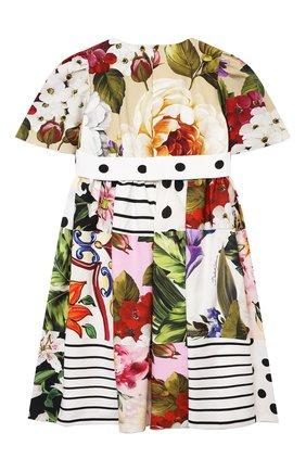 Детское хлопковое платье DOLCE & GABBANA разноцветного цвета, арт. L52DS8/G7YQQ/2-6 | Фото 2 (Материал подклада: Хлопок; Материал внешний: Хлопок; Рукава: Короткие; Девочки Кросс-КТ: Платье-одежда; Ростовка одежда: 2 года | 92 см, 3 года | 98 см, 4 года | 104 см, 5 лет | 110 см, 6 лет | 116 см)