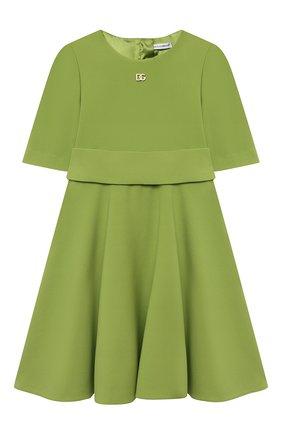 Детское платье DOLCE & GABBANA зеленого цвета, арт. L52DS3/FURDV/2-6 | Фото 1 (Материал внешний: Вискоза, Синтетический материал; Материал подклада: Вискоза; Рукава: Короткие; Девочки Кросс-КТ: Платье-одежда; Ростовка одежда: 2 года | 92 см, 3 года | 98 см, 4 года | 104 см, 5 лет | 110 см, 6 лет | 116 см)