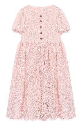 Детское платье DOLCE & GABBANA светло-розового цвета, арт. L52DP9/HLMEA/2-6 | Фото 1 (Материал внешний: Хлопок, Вискоза; Материал подклада: Шелк; Рукава: Короткие; Девочки Кросс-КТ: Платье-одежда; Ростовка одежда: 2 года | 92 см, 3 года | 98 см, 4 года | 104 см, 5 лет | 110 см, 6 лет | 116 см)